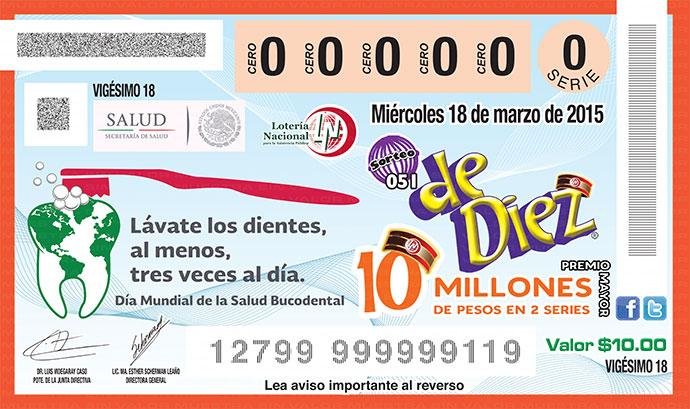 BoletoLoteriaNacionalDiaMundialSaludBucodental2015